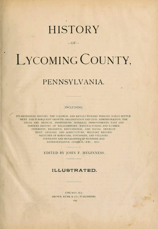 Meginness history of bench & bar - Lycoming Law Association