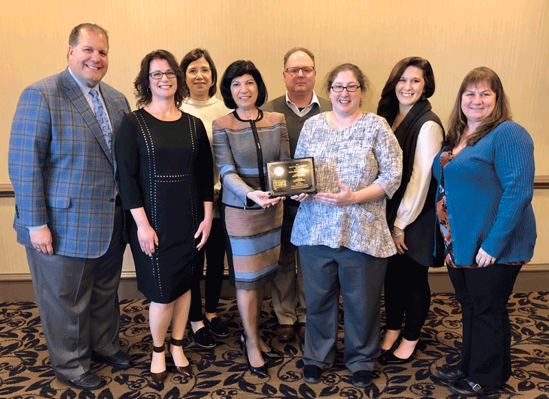 PBA President Anne N. John along with other PBA leaders presented the award to the Lycoming Law Association delegation, including Angela Lovecchio, Don Martino, Michele Frey, Taylor Mullholand and Rita Alexyn.